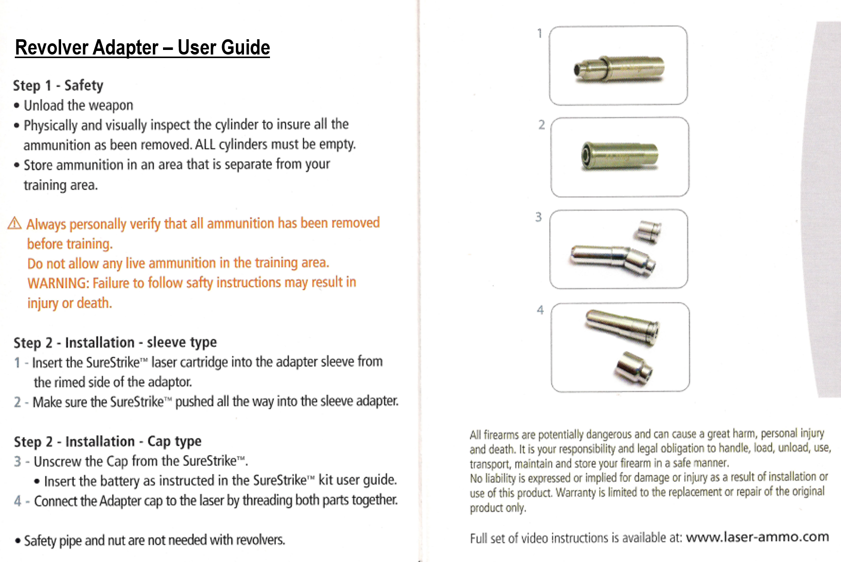 Revolver Adapter User Guide for 45 Long Colt and 44 Mag